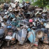 India. Scrapyard. Pollution. Environment. Vespa. Scooter.Ecology.