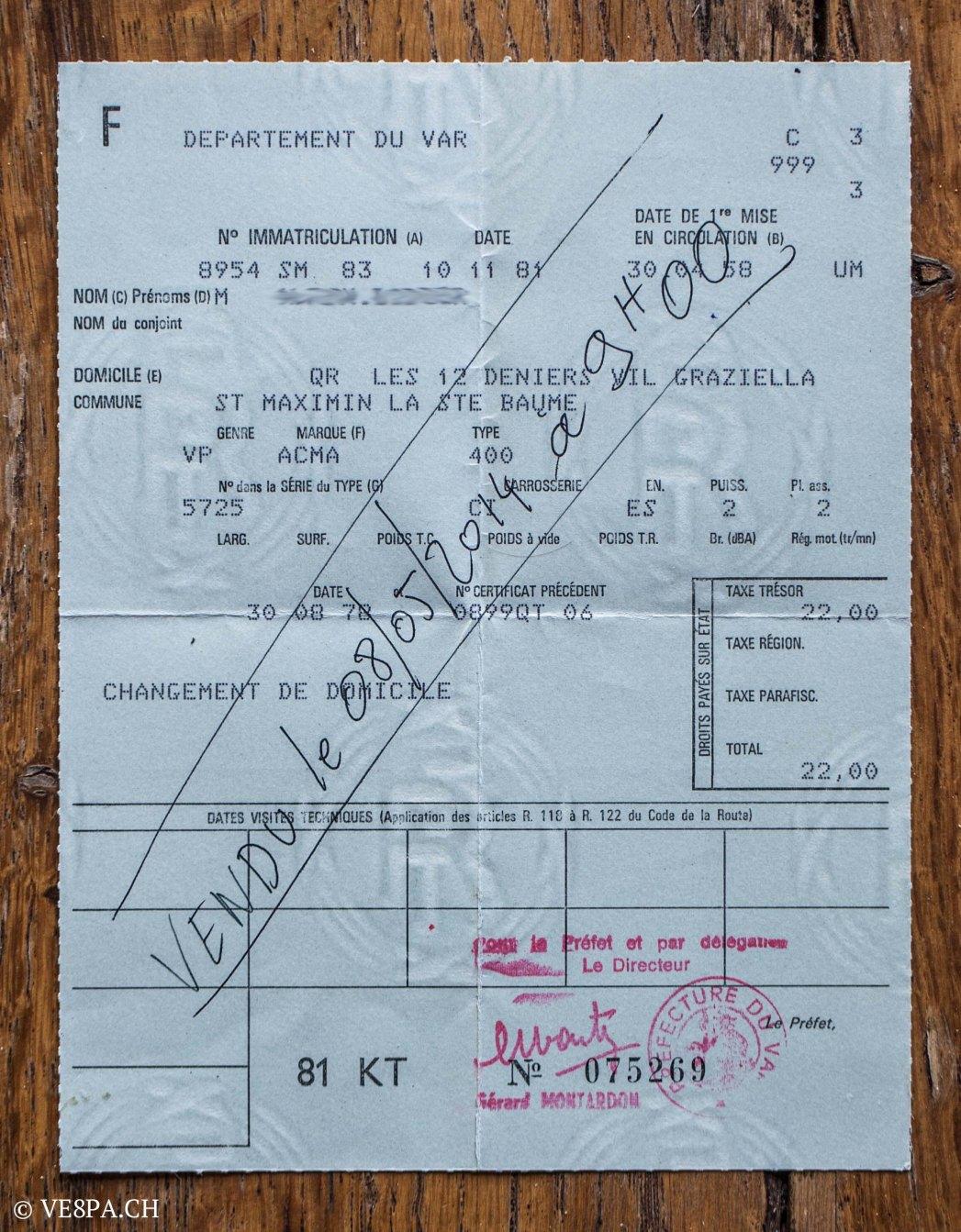 Vespa ACMA 400, 1958, O-Lack, Erstserie, www.VE8PA.CH-1-2