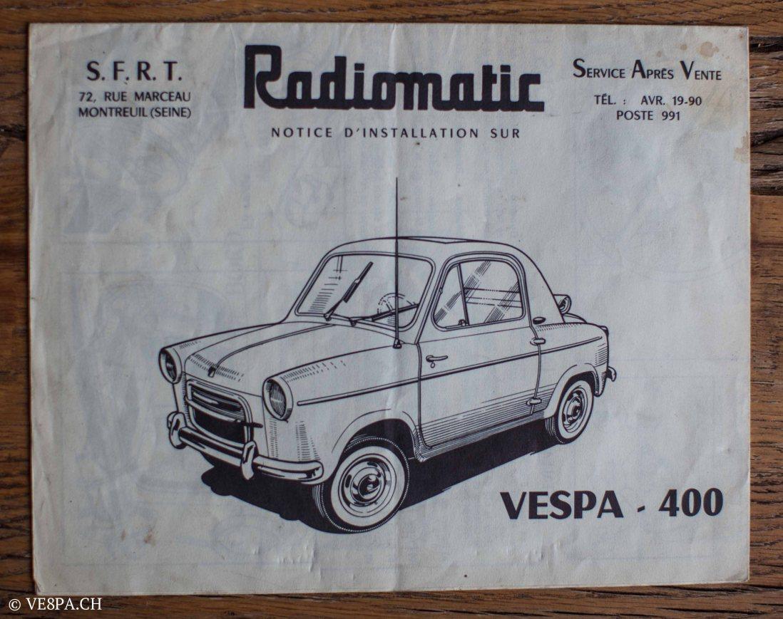 Vespa ACMA 400, 1958, O-Lack, Erstserie, www.VE8PA.CH-102