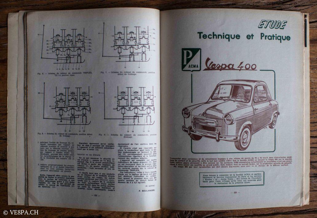 Vespa ACMA 400, 1958, O-Lack, Erstserie, www.VE8PA.CH-106