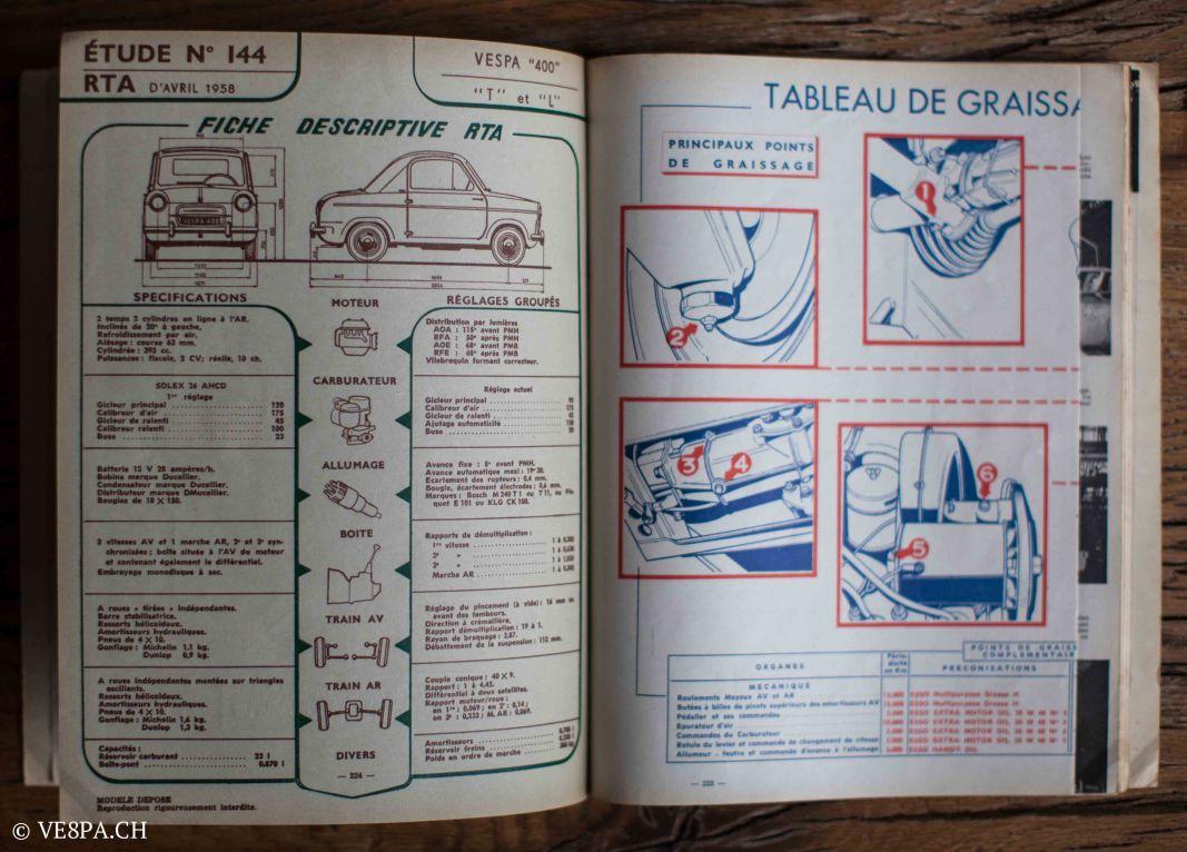 Vespa ACMA 400, 1958, O-Lack, Erstserie, www.VE8PA.CH-107