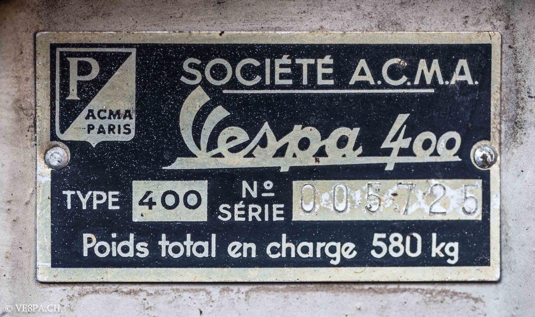 Vespa ACMA 400, 1958, O-Lack, Erstserie, www.VE8PA.CH-33