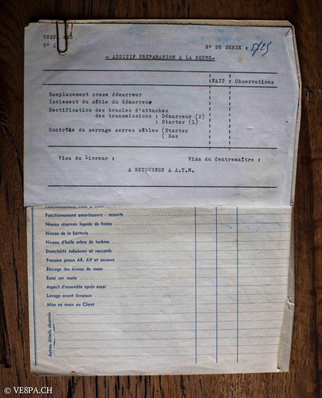Vespa ACMA 400, 1958, O-Lack, Erstserie, www.VE8PA.CH-72