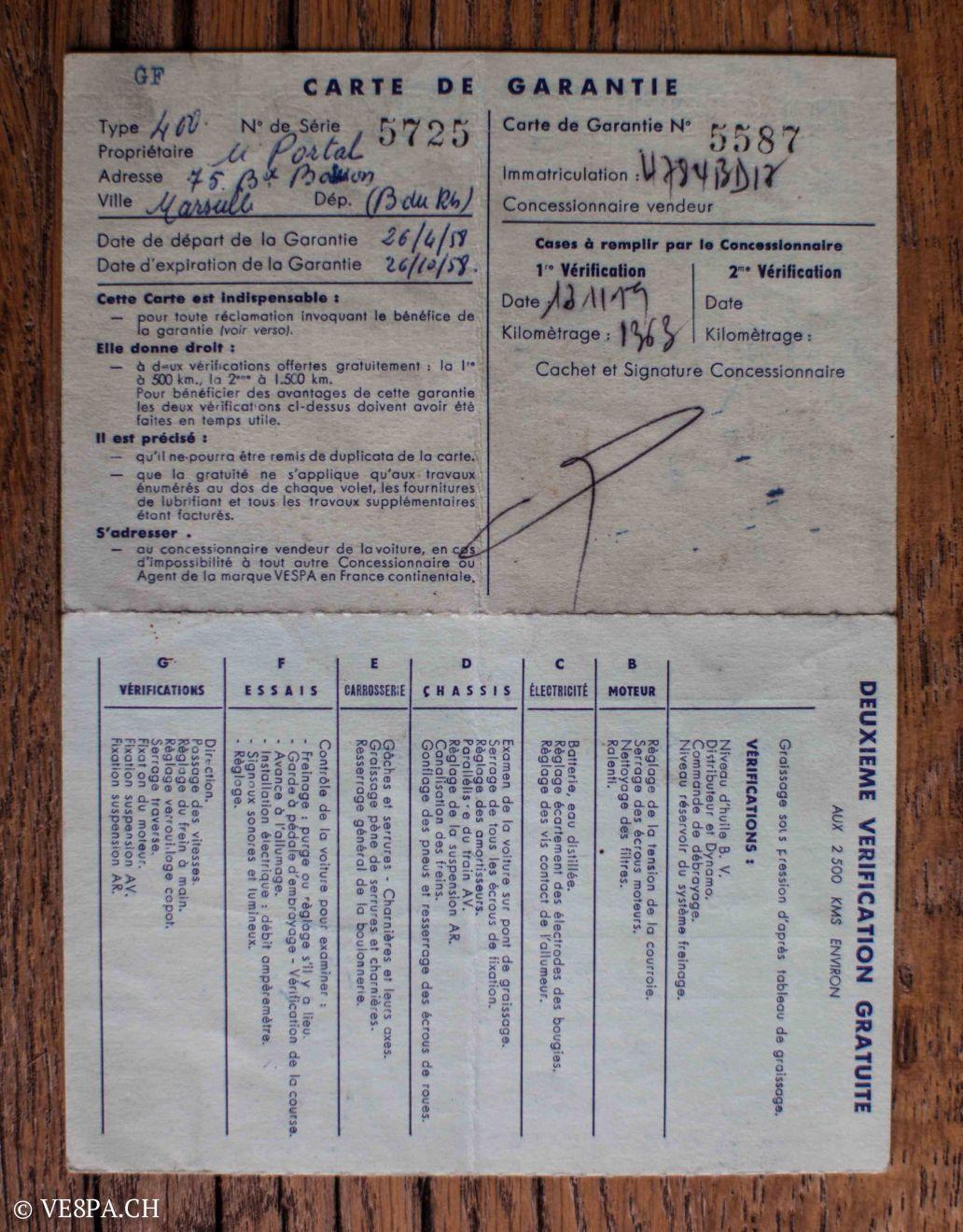 Vespa ACMA 400, 1958, O-Lack, Erstserie, www.VE8PA.CH-76