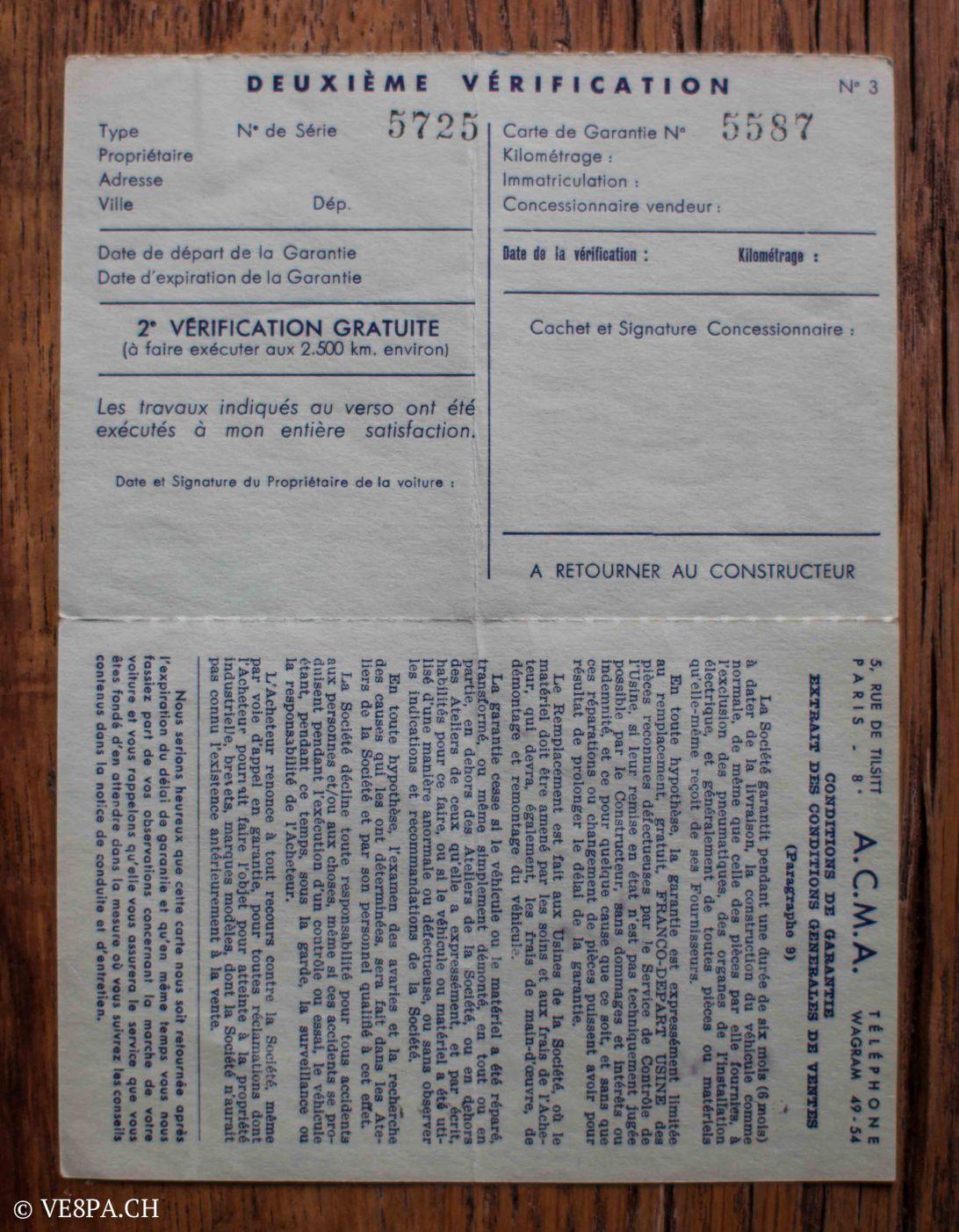 Vespa ACMA 400, 1958, O-Lack, Erstserie, www.VE8PA.CH-77
