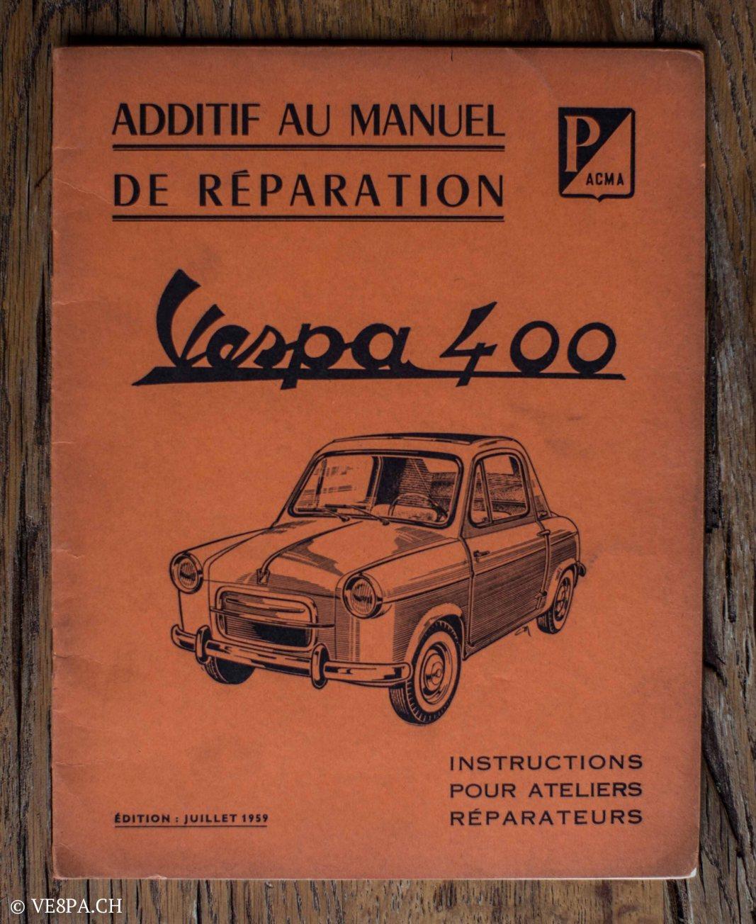 Vespa ACMA 400, 1958, O-Lack, Erstserie, www.VE8PA.CH-82